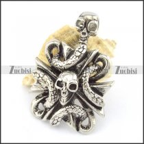 skull pendant with snake in size of 49mm p001554
