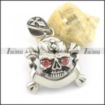 skull and crossbones pendant with 2 clear red zircon eyes p001520