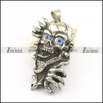 Blue eyed ghost stainless steel pendant p001614