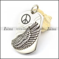 wing tag pendant with peace sign logo p001770