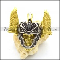 detachable skull head and gold wing pendant p002033