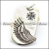 left side flying wing tag pendant with iron cross logo p001766