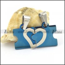 blue plated heart pendant for couples p001606
