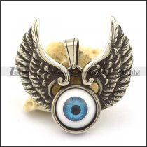 2 flying wings pendant with blue angel eye stone p002085