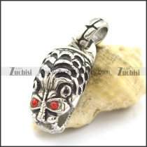 Tiger Head Pendant with Red Rhinestones Eyes p002149