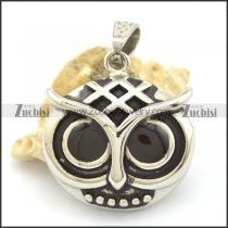 29mm Wide Owl Pendant with Black Round Eyes p002168