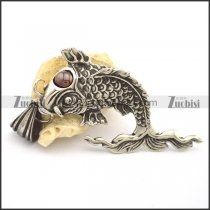 casting carp pendant with dark red eye stone p002083