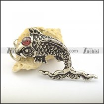 Cyprinoid Pendant with Clear Red Eye Stone p002166