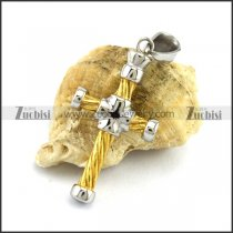 Yellow Gold Stainless Steel Cross Pendant p002812