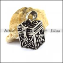 Stainless Steel Cubic Jewelry Box Charm Locket p002852
