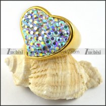 Gold Heart Rhinestone Ring in Stainless Steel - r000203