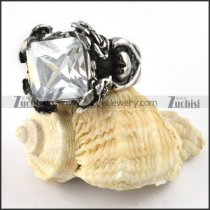 Clear White Stone Ring in Casting Stainless Steel - r000276