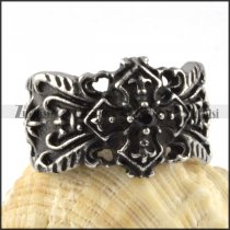 Black French Stainless Steel Cross Ring - r000087