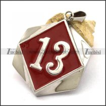 Red Epoxy 13 Stainless Steel Biker Pendant p002545