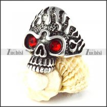 Red Eyes Fire Skull in Stainless Steel - r000260