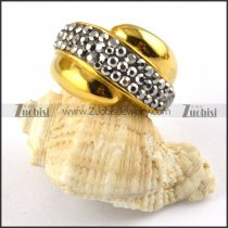 Gold Ring in Stainless Steel with Silver Grey Rhinestone - r000198