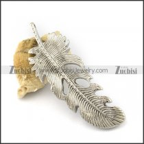 Silver Feather Steel Pendant p002822