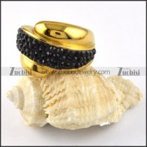 Yellow Gold Stainless Steel Stone Ring - r000195