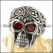 Stainless Steel Skull Ring with 2 Clear Red Zircon Eyes- r000058