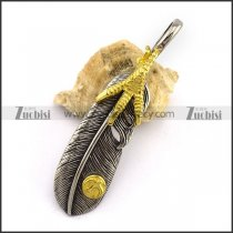 Retro Gold Claw Feather Pedant in Stainless Steel p002882