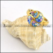 Blue Purple AB Rhinestone Stainless Steel Pinwheel Ring - r000250