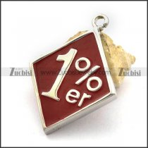 1%er Stainless Steel Rhombus Biker Pendant with Red Epoxy p002543