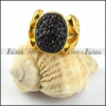 Gold Stainless Steel Black Rhinestone Ring - r000190