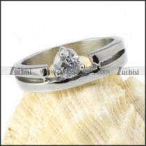 Clear Zircon Wedding Ring in Steel - r000026