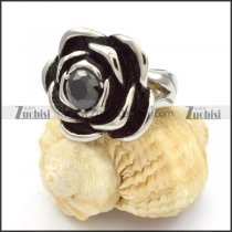 Stainless Steel Rose Rings with Black Zircon -r000463