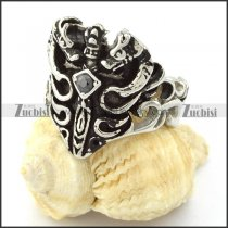 Sword Ring with Black Rhinestone in Stainless Steel -r000731