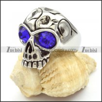 Wholesale stainless steel skull rings with big blue eyes -r000471