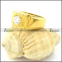 yellow gold plated stainless steel CZ Rings -r000845