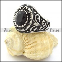 stainless steel mens' rings with round black facted stone -r001061