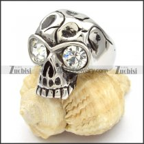 China Stainless Steel Skull Rings with big clear eyes -r000470