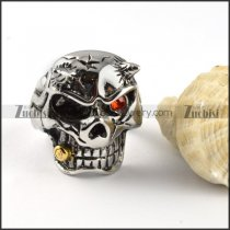 Stainless Steel Bullet Skull Rings with 1 Red Rhinestone Eye r000364