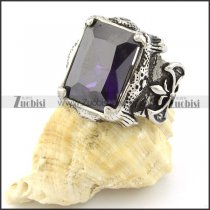 Mens Big Square Facted Blue Stone Ring in Stainless Steel for Champion -r000728
