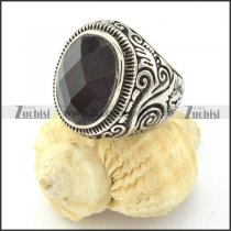 high quality Stainless Steel Black Facted Stone Rings -r000822