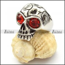 Skull Rings with big clear red eyes -r000469