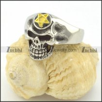 gold star antique silver stainless steel casting skull ring r001215
