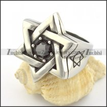 Hexagram Ring with Black Solid Zircon called Magen David Ring r001219
