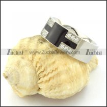 Silver and Black Tone Elegant Ring in Stainless Steel for Ladies -r000921