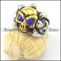 big navy blue rhinestone eye skull ring in gold and metl tone r001162