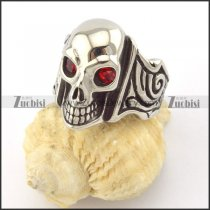 two red rhinestone eyes skull ring r001166