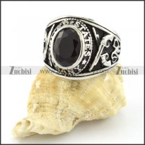 great noncorrosive steel Black Stone Ring with punk style for Motorcycle bikers - r000544