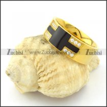 Yellow Gold Plated Elegant Ring in Stainless Steel Metal with Chear Rhinestones -r000922