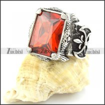 Champion Ring with Large Square Facted Clear Red Stone in Stainless Steel for Mens -r000727