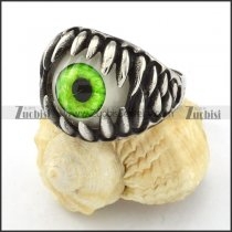 pretty Steel Green Eye Biker Ring with punk style for Motorcycle bikers - r000536