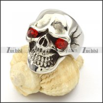 Clear Red Eyes Skull Ring in Stainless Steel -r000427