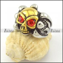 two tone skull ring with cardinal rhinestone eyes r001163