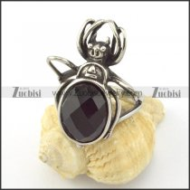 black facted stone beetle ring r001149